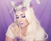 Silver and lavender horn headdress