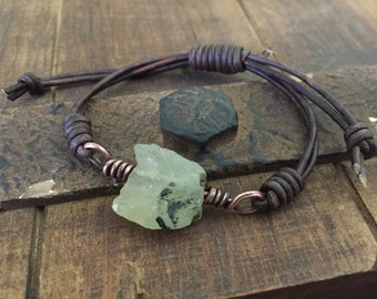 Green Prehnite Gemstone Nugget Leather Bracelet with copper