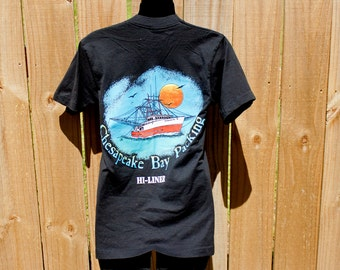 80s Chesapeake Bay tshirt - Hi Liner boat pocket tee - Packing company shirt - Screen Stars