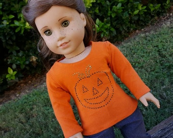 Halloween Pumpkin Long sleeved Tee for American Girl Dolls