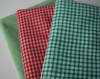 One pound Fabric Scraps Assortment Checkered red and green patterned Cotton Fabric Mix