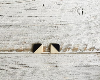 Ceramic Square Earrings, Black, Unique Gift, Modern, Gift for Her, Minimal, Ceramics, Fall Fashion, Ceramic Jewelry, Unique Jewelry
