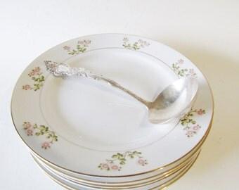 Noritake Hankon Salad Plates, Romantic Plates, Set of Six Dessert Plates, Cottage Chic