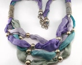 Hand Dyed Silk Necklace accented with European Beads