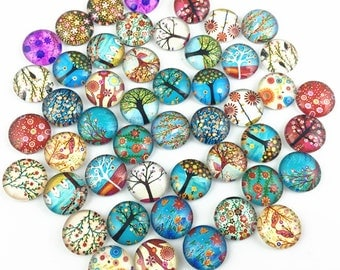 30pcs Mixed 12mm Round Handmade Photo Glass Cabochon - Tree