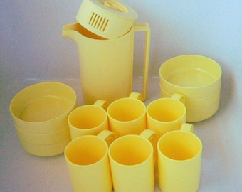 Vintage 13 Pc Yellow Melamine Melmac Cups/Mugs, Bowls, Pitcher by Ingrid Inc.