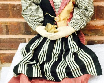 Hand-Made Cloth Doll, Lots of Unique Vintage Details - Must See!!