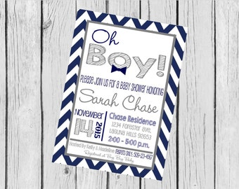 """Customized 5x7"""" Printable OR Printed Invitation WITH Envelopes - Navy and Grey Bowtie Chevron - Or Match ANY theme in my Shop"""