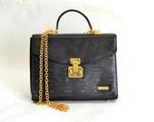 Vintage HCL Bag - Medium Black Leather and Gold Lock Framed Crossbody Purse