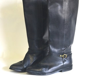 Vintage Black Leather Flat Riding Boots 7.5 //  - Harness  - from Reboot Vintage