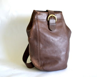 Vintage COACH Brown Leather Large Bag - Cinch Backpack - Rucksack