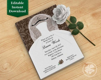 Chocolate Brown Bridal Shower Invitation Template, Wedding Shower Invitations - Dress on Hanger Brown
