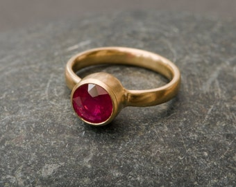 Gold Ruby Ring  - Ruby Ring in 18k Yellow Gold - Large Ruby set in Satin Finished 18k Yellow Gold - Made to Order - FREE SHIPPING