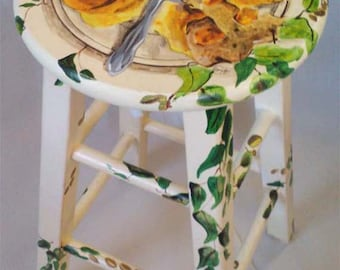 Yum, Yum, Peach Pie! Hand painted on top of a bar stool.