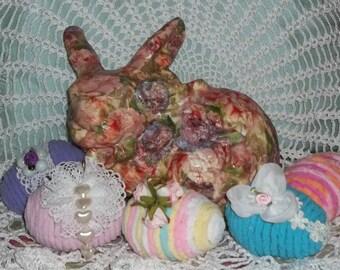 40% Off, Decoupage Rabbit, Easter Bunny, Chenille Eggs, Easter Eggs, Easter Decor