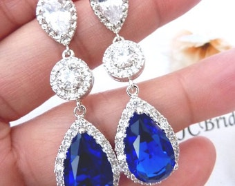 Wedding Bridal Earrings LARGE Halo Sapphire Royal Blue Peardrop and Round Cubic Zirconia White Gold Plated Peardrop CZ Post Wedding Earring
