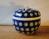 Polish Ceramic Apple Baker - Boleslawiec Pottery Hand Made in Poland- Blue and White with Green and Rust Dots Pattern