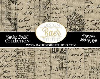 DIGITAL PAPER VINTAGE:Script Digital Paper, Handwritten Digital Paper, English Script Paper, Digital Scrapboook Paper, #14144