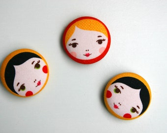 Fridge Magnets - Set of 3, Russian Dolls - 38mm (1.5 inch) Fabric Button Magnet - Great Gift Idea - Matryoshka