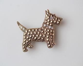 Vintage Scottie Dog Brooch  - Gold Tone Scottish Terrier Costume Jewelry - Gold Tone with Rhinestones Dog Jewelry