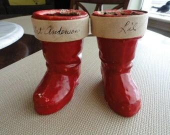 C003)  Vintage Santa Boots paper mache candy holders