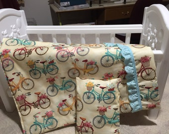 """Bicycles 18"""" Doll Quilt and Pillow"""