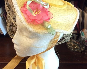 sale 20% off all vintage hats ... YELLOW Floral Under the Chin Tied BONNET with Floral & Netting lovely Vintage ...