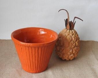California Pottery Bright Orange Bamboo Planter