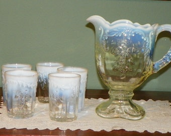 Antique Victorian art glass PITCHER TUMBLERS Northwood INTAGLIO French Opal opaline opalescent opal