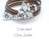 ŵomen butterfly leather wrap bracelet - fashion triple wrap leather bracelet with color choices uno the 50 style