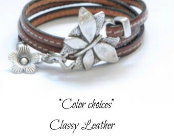 ŵomen butterfly leather wrap bracelet - fashion triple wrap leather bracelet with color choices uno the 50 style