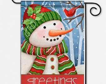 Snowman Greetings Garden Flag to welcome guests and celebrate the season.