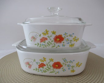 Vintage Corning Ware Covered Casseroles - Wildflower  - Set Of Two