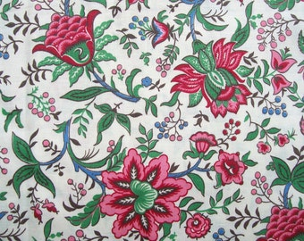 New 50s/60s Pink & Green FLORAL FABRIC 36x216  Cotton 6 yards Sew Craft