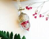 Secret Acorn Necklace - Babys Breath Pendant Rain Gypsophila Flower Resin Jewellery Natural