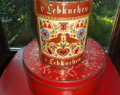 2 Antique Looking Christmas Tins with wonderful well developed patina with A folk art pattern on each tin that are decorative and functional