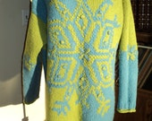 Vintage Ski Sweater in Lime Green, Agua Blue Wool Designed Snowflake in Very Good Condition with the Express Tricot Label in a Size Large