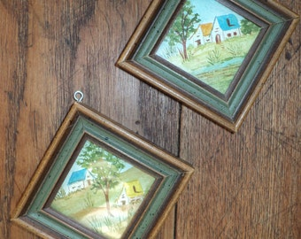 2 Vintage Miniature Watercolor Landscape Scenes in Matching frames with wonderful color palette and great perspective in Mint Condition