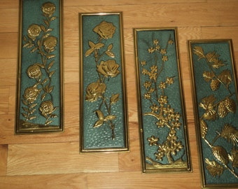 Retro Brass and Teal Blue Enamel Embossed Wall Plaques depicting the Four Seasons, Made in Holland, with wonderful well developed patina