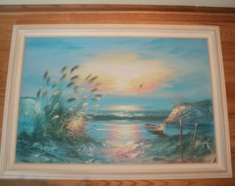 SUNRISE OR SUNSET? Large Original Oil Painting on Canvas Signed by The Artist in Great Condition with wonderful color palette composition