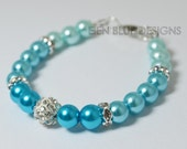 Turquoise Pearl Bracelet, Ombre Pearl Bracelet, Turquoise and Aqua Pearl Bracelet, Pearl and Rhinestone Bracelet, Turquoise Wedding Scheme