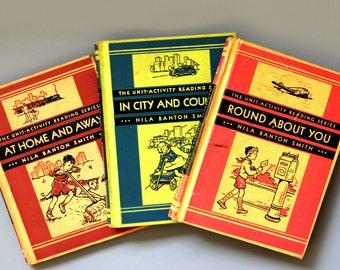 vintage The Unit-Activity Reading Series 1935, Primer, Grade 1, Grade 2, Silver Burdett Co.