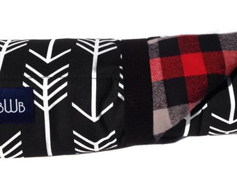 Dog Bed - Black Arrow and Buffalo Paid Flannel  Bed Roll