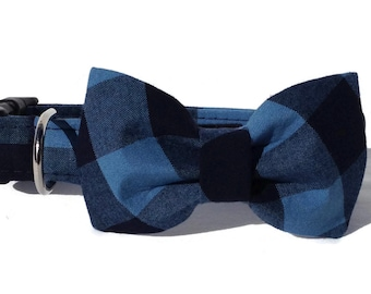 Indigo and Black Buffalo Plaid  Dog Collar and Bow Tie  Set for Small to Large Dogs