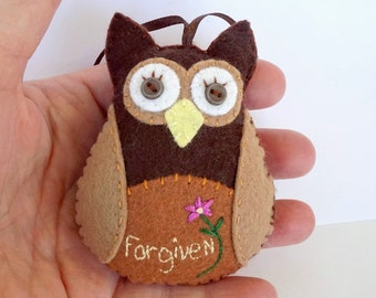 Felt Owl Christmas Ornament, Christian Owl Ornament, Inspirational Owl, Forgiven, Hanging Owl