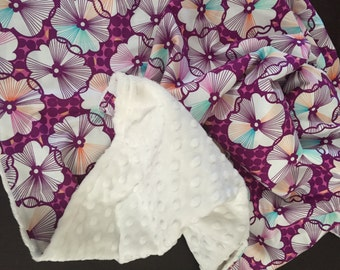 Baby Blanket in Free Spirit Fabric by Erin McMorris Moxie Trixie  READY TO SHIP!!