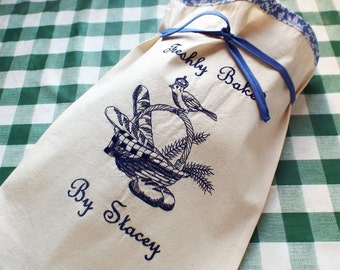 Hostess Gift Embroidered Personalized Natural Canvas Bread Bag, Reusable bread keeper - Home made bread - French Country