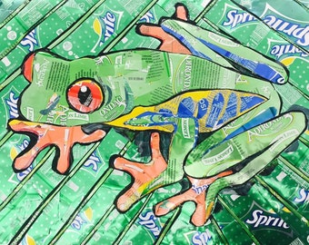 Tree Frog- Recycled Soda Can Mosaic