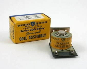 Vintage Series 200 Guardian Electric relay coil assembly, No 200-24A, 24 volt DC, 60 hz, new old stock, electronics, electrical supply, NOS