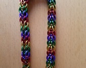 RESERVED FOR MS. B - Full Persian Chainmail, Green, Gold, Red and Purple, 9-1/4 inch Bracelet